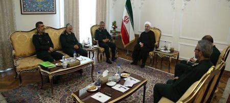 دیدار فرماندهان عالی رتبه سپاه با رییس جمهور   تاکید روحانی بر وحدت نیروهای نظام
