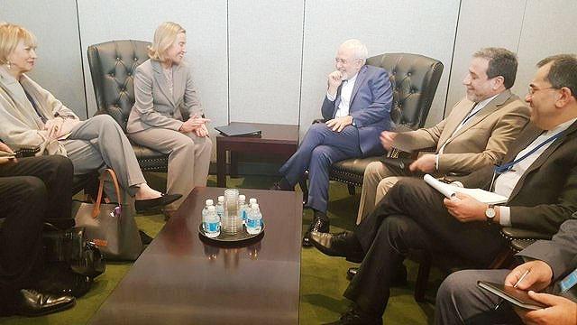 دیدار ظریف و موگرینی در سازمان ملل
