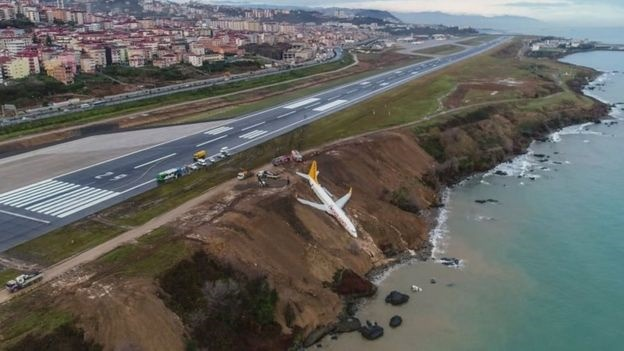 لغزندگی باند فرودگاه هواپیما را تا لب دریای سیاه کشاند