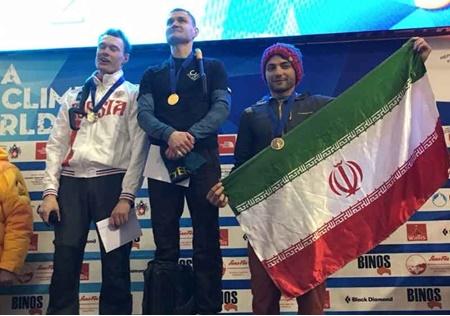 مدال برنز جام جهانی یخ نوردی بر سینه محمدرضا صفدریان