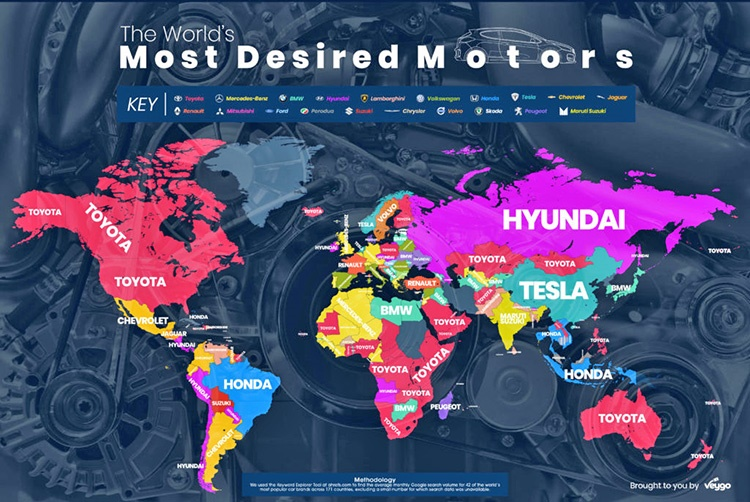 نقشه خودروهای محبوب دنیا