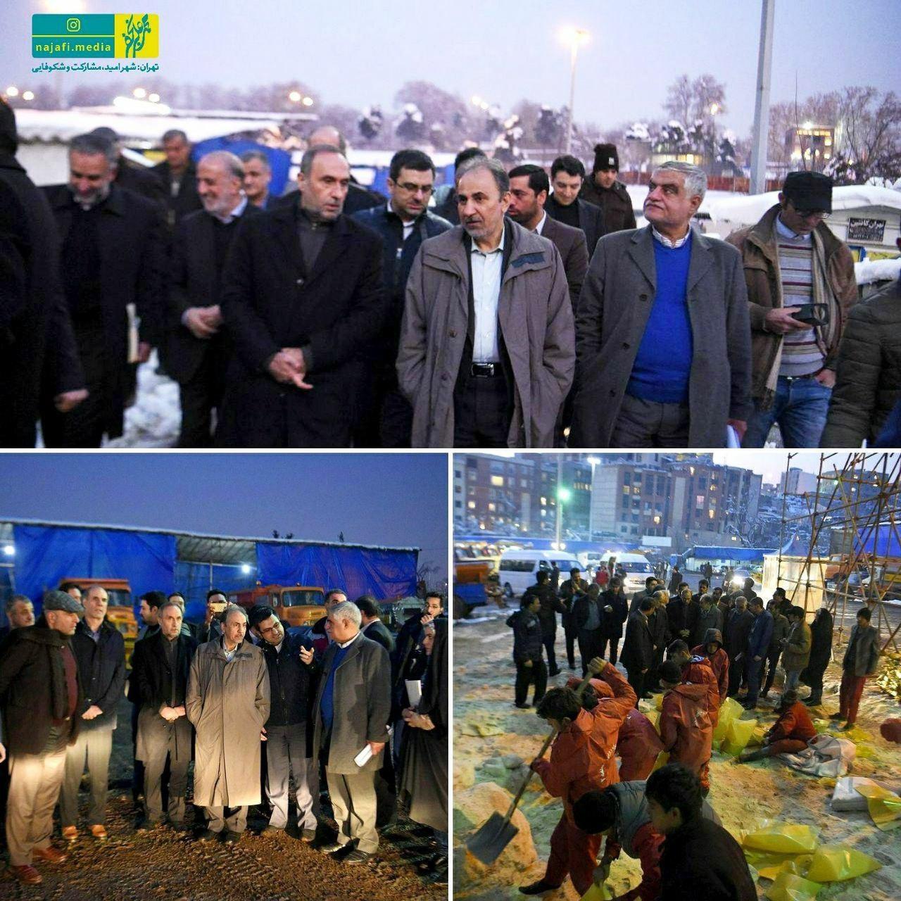 بازدید نجفی از سایت های برف روبی شهرداری تهران