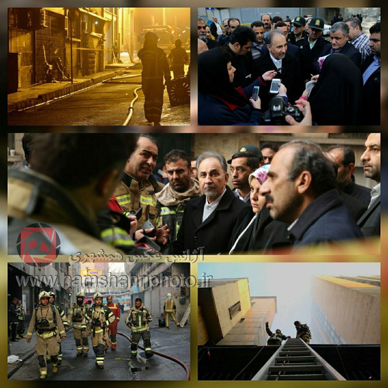 محمدعلی نجفی در محل حادثه آتش سوزی