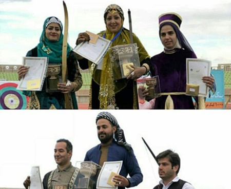 فرحناز ابراهیمی و عیسی ابراهیمی قهرمان مسابقات کمان سنتی کشور شدند