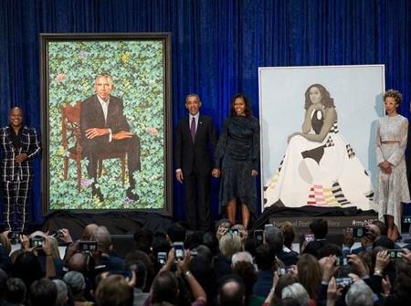 رونمایی از پرتره باراک و میشل اوباما | نقاشی هایی برای ثبت در تاریخ