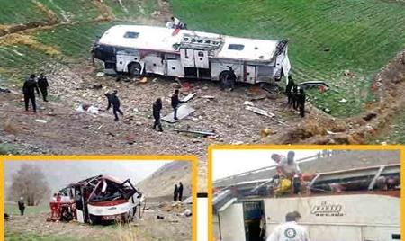 سقوط مرگبار اتوبوس به دره