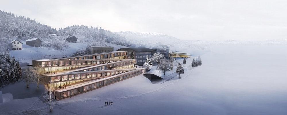 بنای هتلی که بامش پیست اسکی است