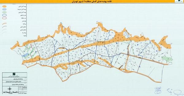 نقشه گسلهای منطقه یک تهران
