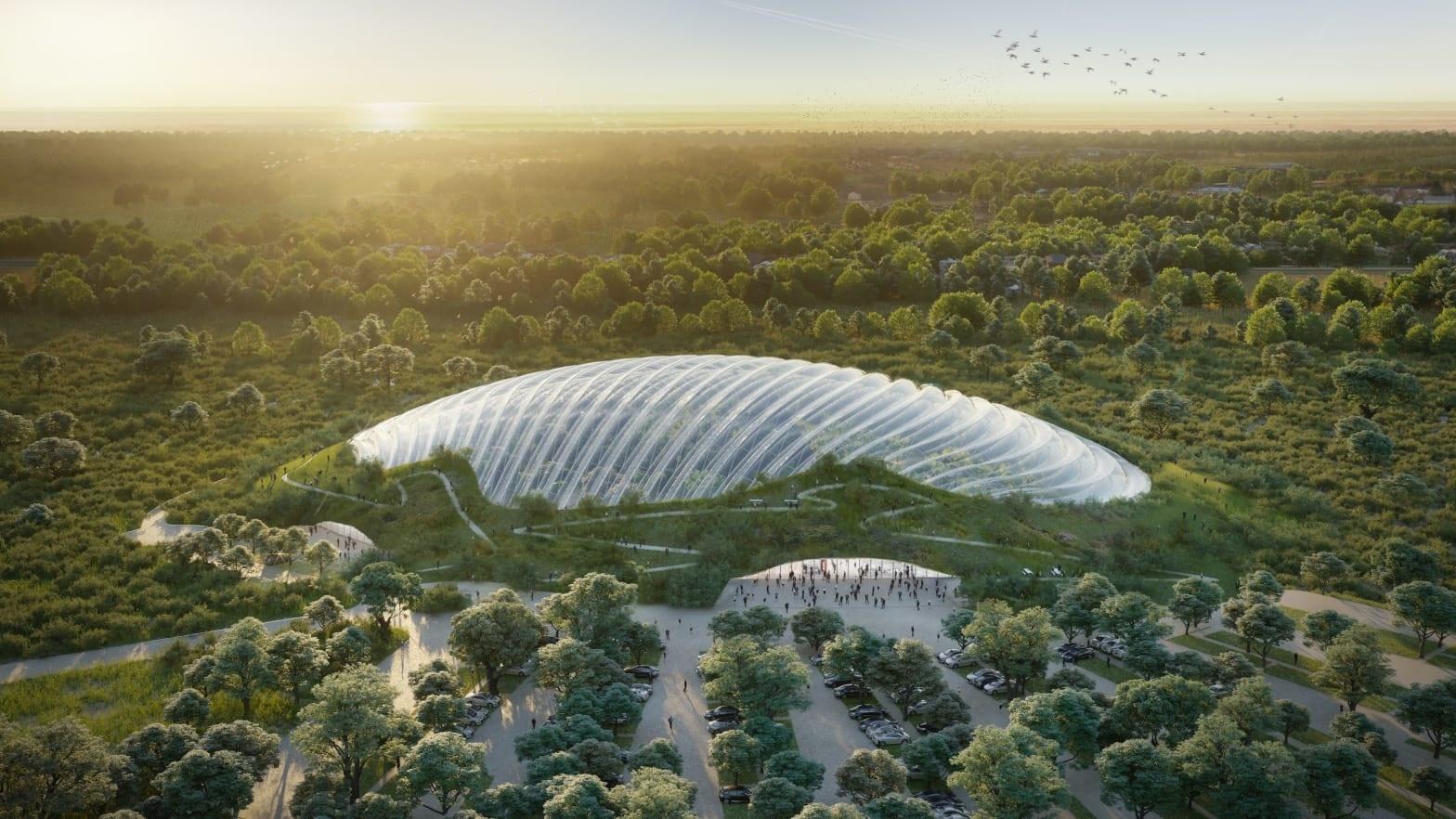 بنای بزرگترین گلخانه تکگنبدی جهان در فرانسه