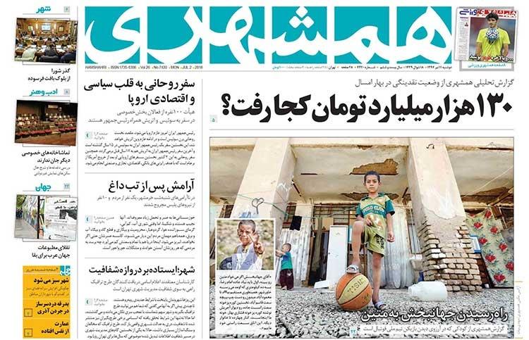 صفحه اول روزنامه همشهری دوشنبه ۱۱ تیر ۱۳۹۷