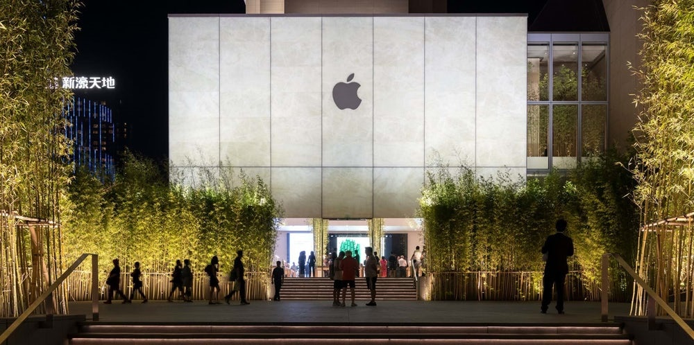 بنای فروشگاهی به شکل فانوس کاغذی برای اپل