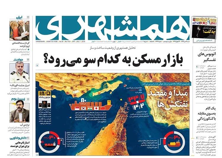 صفحه اول روزنامه همشهری  شنبه ۱۶ تیر ۱۳۹۷