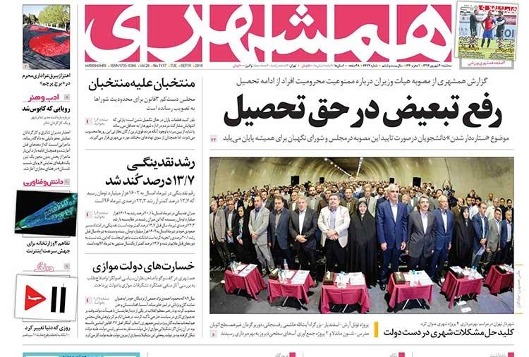 صفحه اول روزنامه همشهری سه شنبه ۲۰ شهریور ۱۳۹۷