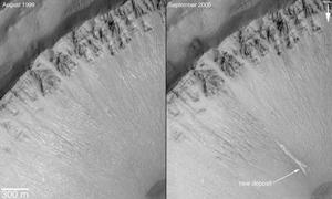یک ناودان جدید در فاصله هفت سال بر روی شیب گودال بوجود آمده است
