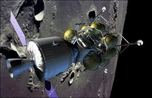 تصویری تخیلی از سفینهای برای انتقال انسان و بار به ماه و مریخ