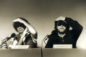 امیر کاستاریکا و بازیگر نقش اول فیلم زیرزمین(برنده نخل طلای سال 1995) در کنفرانس مطبوعاتی فیلم