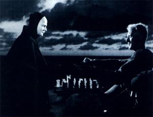 ماکس فونسیدو در صحنهای از فیلم مهر هفتم اثر اینگماار برگمن