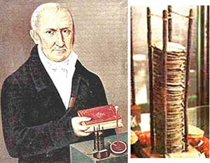آلساندرو ولتا با اولین باتری دستساز