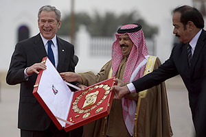 Bush recieves a gift from Bahrain's King Hamad bin Issa Al Khalifa