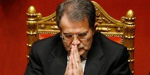 Italian premier Romano Prodi joins his hands, prior to a confidence vote in the Senate, in Rome, Thursday Jan. 24, 2008.