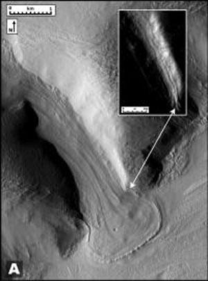 انشعاب قدیمی مریخی یخچال مانند