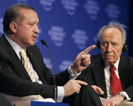 Turkey's Prime Minister Recep Tayyip Erdogan makes a point while speaking during a session at the World Economic Forum in Davos, Switzerland, Thursday Jan. 29, 2009.
