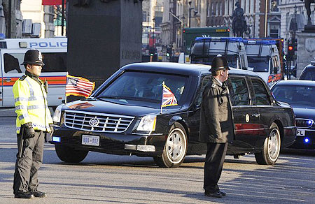 U.S. President Barack Obama's motorcade turns into Downing Street in London April 1, 2009