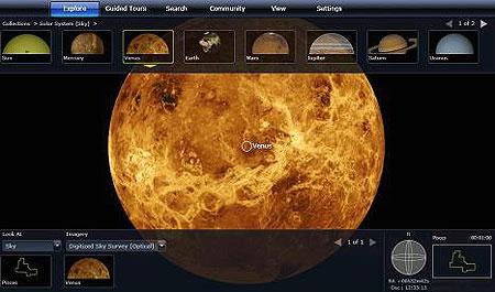 Screenshot from the Web-based version of WorldWide Telescope shows Venus