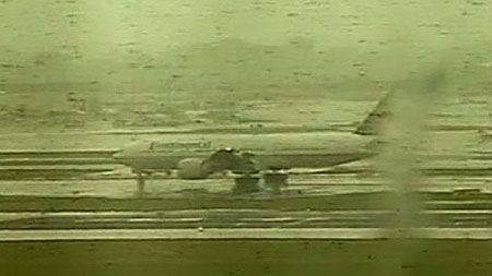 The plane on the tarmac at Newark Airport, New Jersey, after a safe landing