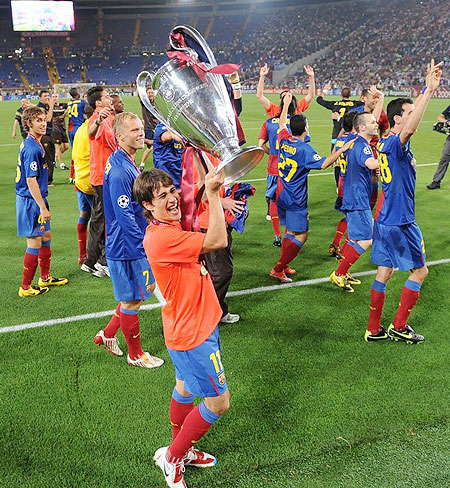 Barcelona's Spanish forward Bojan Krkic (C) celebrates after winning the UEFA football Champions League final against Manchester United on May 27, 2009 at the Olympic Stadium in Rome.
