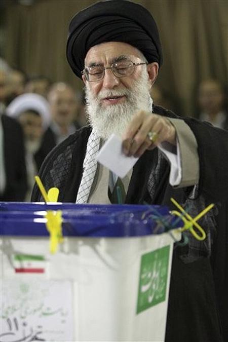 Iran's supreme leader Ayatollah Ali Khamenei casts his ballot for the presidential elections in Tehran, Iran, Friday June, 12, 2009.