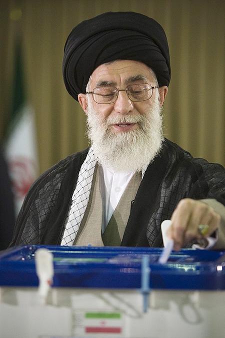 Iran's Supreme Leader Ayatollah Ali Khamenei casts his ballot in Tehran during the Iranian presidential election June 12, 2009.