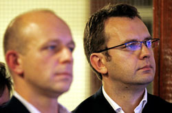 Andy Coulson:(Right) Conservative communications director who resigned as editor of the News of the World in January 2007 after royal reporter Clive Goodman was jailed for phone-hacking. Coulson denies knowledge of Goodman's activities. However, Guardian revelations suggest editorial staff for whom he was responsible were involved in further illegal activity