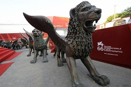 Statues of lions pictured near the red carpet entrance of the 66th Venice film festival