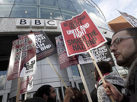 "1-	Anti-British National Party (BNP) demonstrators protest outside the BBC Television Centre studios, in west London October 22, 2009. The planned appearance by the leader of Britain's right-wing BNP on a flagship BBC political programme on Thursday would expose the party as ""racist and unacceptable"", Prime Minister Gordon Brown said."