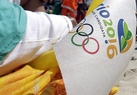 A Rio 2016 flag is seen at Copacabana beach in Rio de Janeiro, October 2, 2009.