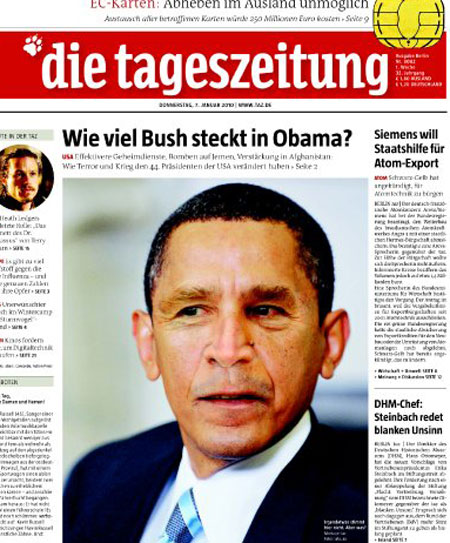 """Germany's Die Tageszeitung newspaper says US President Barack Obama is no """"Prince of Peace."""""""