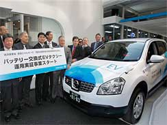 Japanese government officials and company executives gather for the opening ceremony of a battery switch station for electric vehicle taxis in Tokyo, Japan, Monday, April 26, 2010.